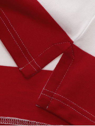Trendy Broad Stripe Badge Embroidered Polo T-Shirt - L RED Mobile
