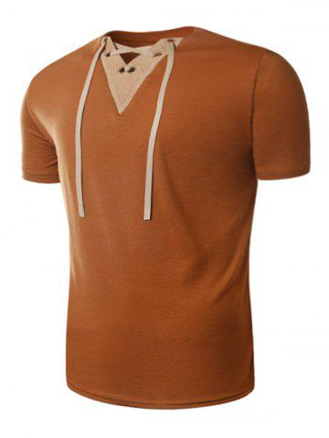 Fancy Suede Panel V Neck Lace Up T-Shirt - 2XL EARTHY Mobile