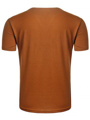 Trendy Suede Panel V Neck Lace Up T-Shirt - 2XL EARTHY Mobile