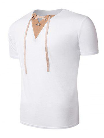 Trendy Suede Panel V Neck Lace Up T-Shirt - XL WHITE Mobile