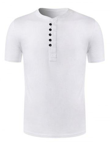 Affordable Short Sleeve Half Placket T-Shirt - 2XL WHITE Mobile