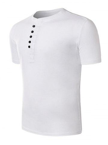 Fancy Short Sleeve Half Placket T-Shirt - 2XL WHITE Mobile