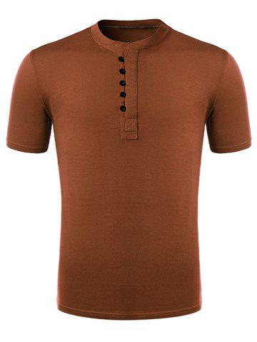 Shop Short Sleeve Half Placket T-Shirt - 2XL EARTHY Mobile