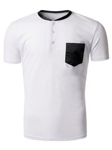Discount Stand Collar Charmeuse Panel Pocket Design T-Shirt - L WHITE Mobile