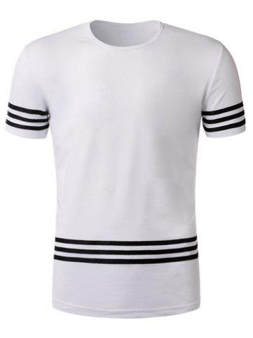 Unique Short Sleeve Varsity Stripe Braid T-Shirt - 2XL WHITE Mobile