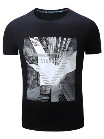 Online 3D Highrise Graphic Geometric Print T-Shirt - L BLACK Mobile