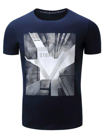 Affordable 3D Highrise Graphic Geometric Print T-Shirt - 2XL ROYAL Mobile