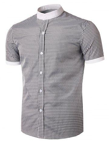 Outfits Short Sleeve Little Plaid Shirt - L WHITE AND BLACK Mobile
