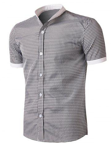 Fashion Short Sleeve Little Plaid Shirt - XL WHITE AND BLACK Mobile