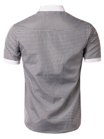 Cheap Short Sleeve Little Plaid Shirt - XL WHITE AND BLACK Mobile