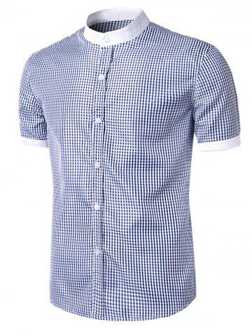 Outfit Short Sleeve Little Plaid Shirt - XL CYAN + WHITE Mobile
