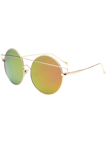 Outfit Metal Round Mirror Reflective Retro Sunglasses - GOLDEN  Mobile