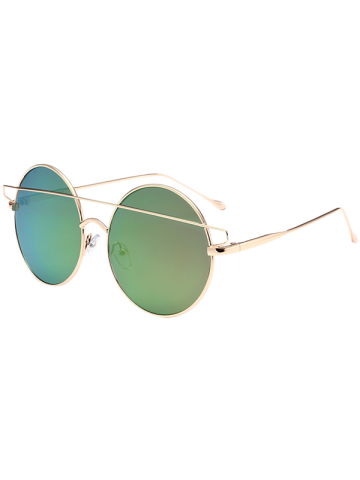 Store Metal Round Mirror Reflective Retro Sunglasses - GOLD FRAME + PURPLE GREEN LENS  Mobile