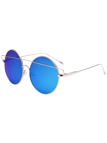 Discount Metal Round Mirror Reflective Retro Sunglasses - SILVER FRAME+BLUE MERCURY LENS  Mobile