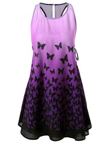 Shop Ombre Lace Up Racerback Butterfly Tank Dress PURPLE M