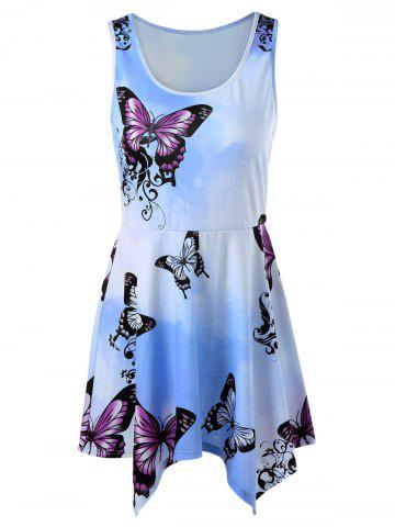 Outfit Ombre Print Mini Handkerchief Dress LIGHT BLUE L