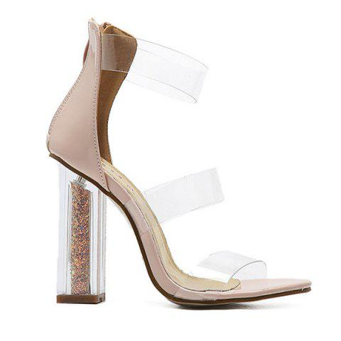 Patent Leather Crystal Heel Sandals - APRICOT 39
