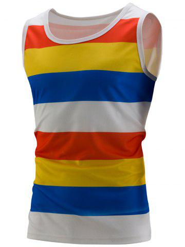 Discount Stripe Colorblock Sports Tank Top YELLOW 2XL