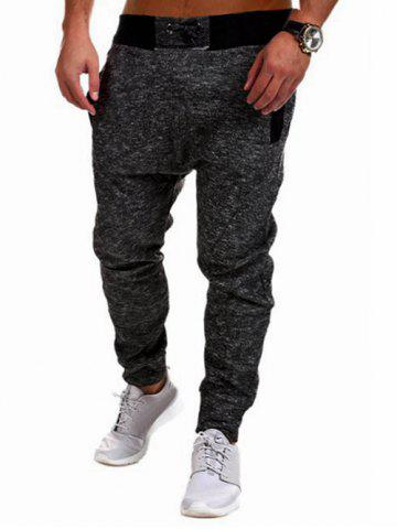 Trendy Two Tone Drawstring Jogger Pants - 2XL DEEP GRAY Mobile