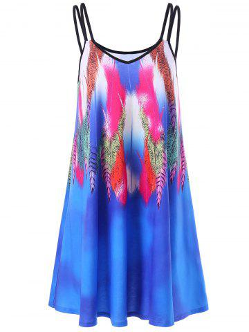 Fancy Feather Print Summer Slip Beach Dress BLUE 2XL