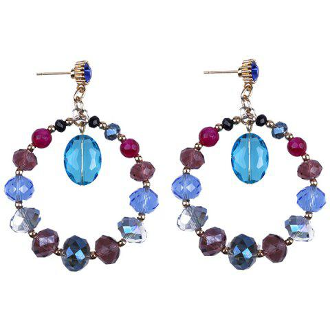 Faux Crystal Bead Circle Earrings - Blue - One-size