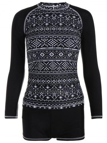 High Neck Long Sleeves Print Boyleg Swimsuits - Black - Xl