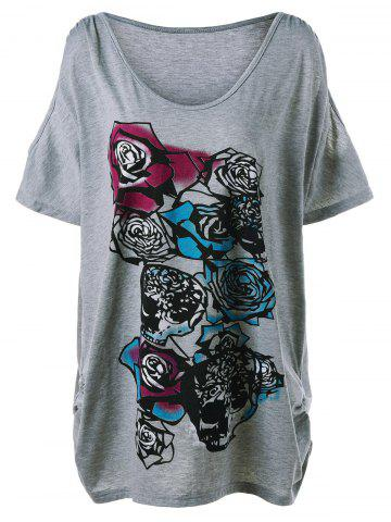 Trendy Plus Size  Cold Shoulder Rose Graphic T-Shirt - 3XL GRAY Mobile