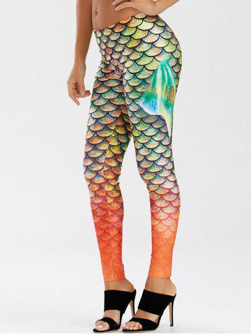 Outfits Scale Allover Print Mermaid Leggings - M GREEN Mobile