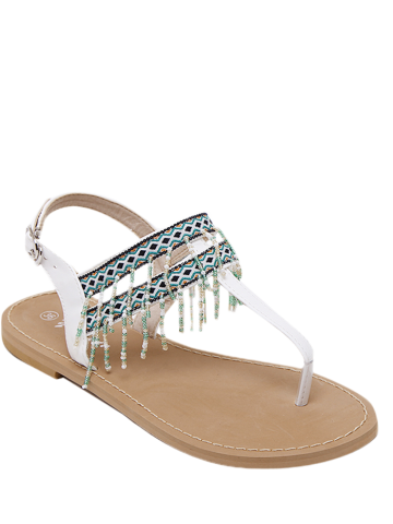 Chic Beading Geometric Pattern Sandals