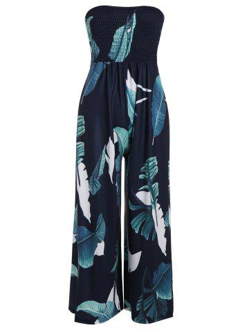 Outfits Strapless High Waisted Shirred Leaf Print Jumpsuit