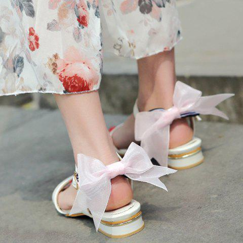 Online Faux Leather Back Bow Flat Sandals