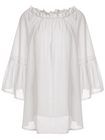 Discount Off Shoulder Flounce Dressy Tunic Cover Up - ONE SIZE(FIT SIZE XS TO M) WHITE Mobile