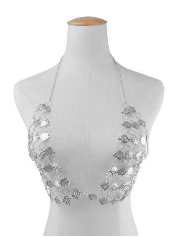 Affordable Rose Flower Triangle Body Bra Chain - SILVER  Mobile