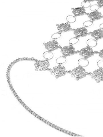 Best Rose Flower Triangle Body Bra Chain - SILVER  Mobile