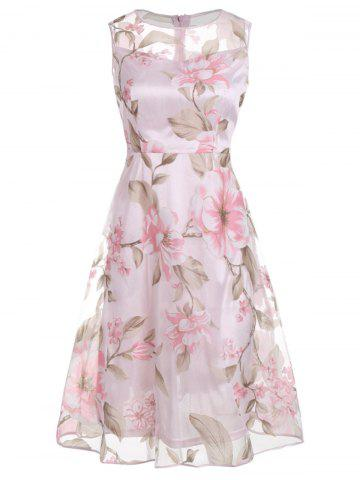 Sale Floral Printed Sleeveless Organza A Line Midi Dress PINK L