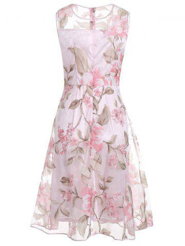 Shop Floral Printed Sleeveless Organza A Line Midi Dress - 2XL PINK Mobile