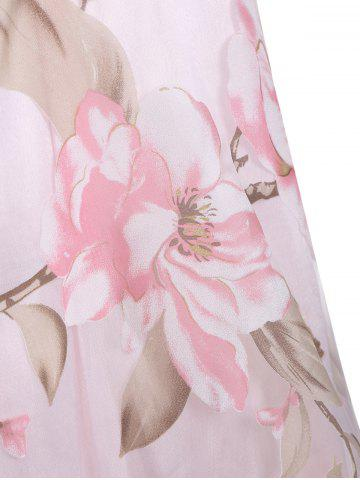 Shops Floral Printed Sleeveless Organza A Line Midi Dress - 2XL PINK Mobile