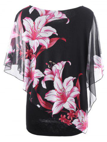 Fancy Overlay Floral Casual Plus Size T-Shirt - 5XL BLACK Mobile