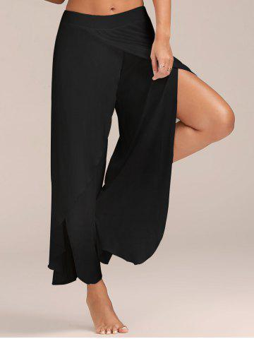 Sale Flowy Layered High Waisted Slit Palazzo Pants BLACK M