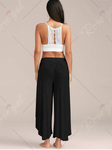 New Flowy Layered High Waisted Slit Palazzo Pants - BLACK M Mobile