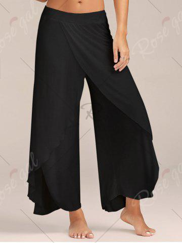 Chic Flowy Layered High Waisted Slit Palazzo Pants - BLACK M Mobile