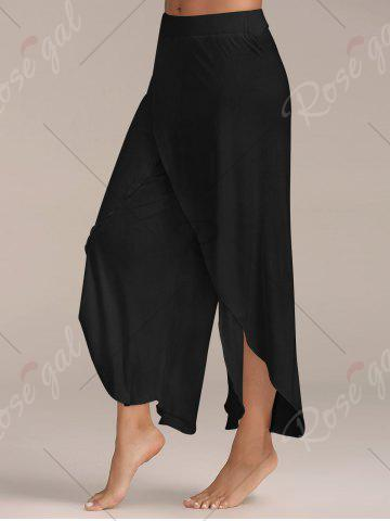 New Flowy Layered High Waisted Slit Palazzo Pants - BLACK XL Mobile