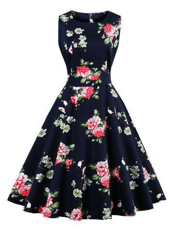 Unique Vintage Floral Fit and Flare Dress PURPLISH BLUE S