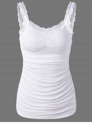 Lace Trim Ruched Tank Top - WHITE