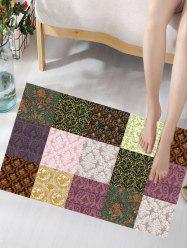 Flower Pattern Plaid Panel Antiskid Flannel Rug