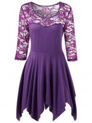 Plus Size Sheer Lace Panel Handkerchief Top - PURPLE XL