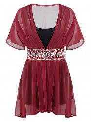 Plus Size Chiffon Embroidered Blouse With Cami Top