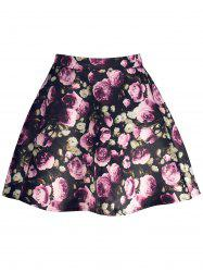 Floral Print High Waisted A Line Skirt - BLACK M