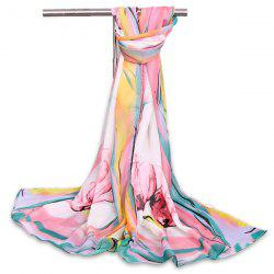 Watercolour Flowers Printed Vintage Chiffon Gauze Shawl Scarf