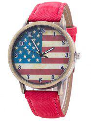 Stars And Stripes Flag Number  Jeans Watch - RED